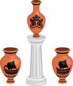 Antique greek vases set — Stock Vector
