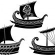 Stock Vector: Ancient Greek ship set