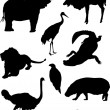 Animals silhouette set - Stock Vector