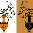 Amphora with olive branches - Stock Vector