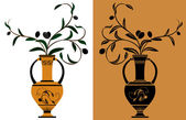 Amphora with olive branches — Stock Vector