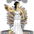 Stock Vector: Greek woman with amphoras