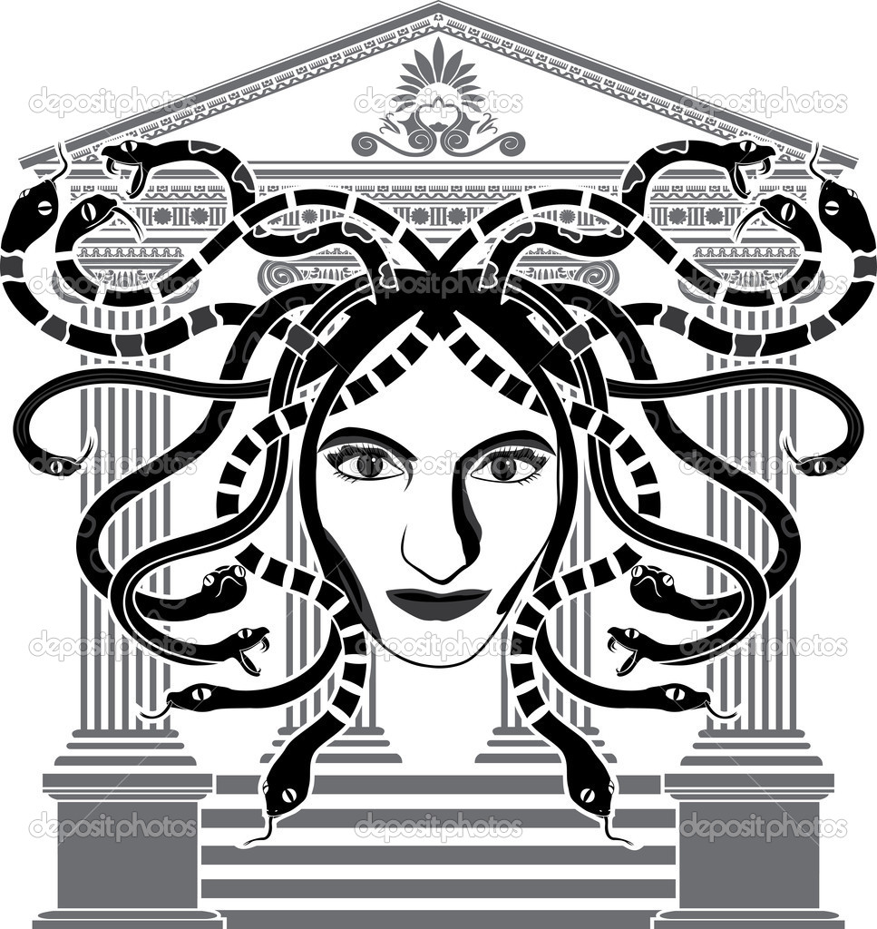 Medusa Gorgona temple stencil vector illustration — Stock Vector #9788632