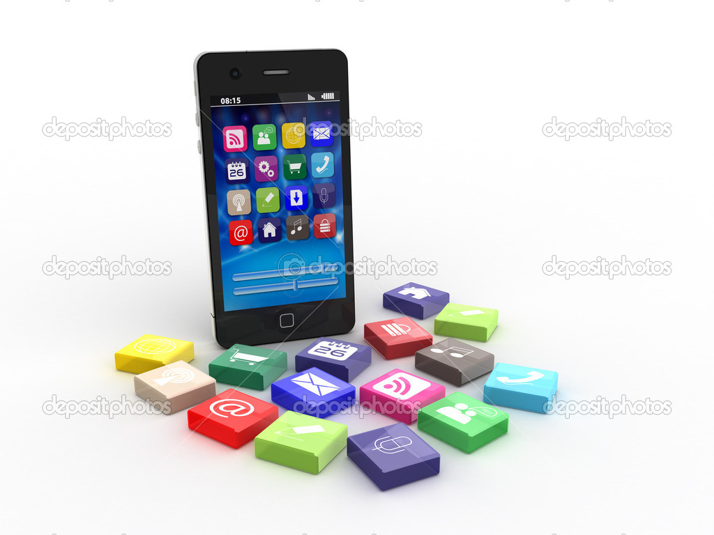 Smartphone with application icons, 3d rendered illustration — Stock Photo #8894185