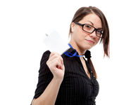 Woman with blank id card. — Stock Photo