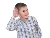 Boy showing he's listening — Stock Photo