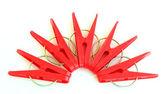 Fünf rote heringe aufgestellt um — Stockfoto
