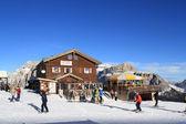 Skiing in ski resort Val di Fassa in Italy — Stock Photo