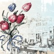 Vintage illustration of Amsterdam street and tulips. Watercolor - Stock Vector