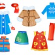 Royalty-Free Stock Vector Image: Set of seasonal clothes for girls