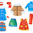 Set of seasonal clothes for girls — Stock Vector #8781204