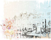 Vintage illustration of Amsterdam street . Watercolor style. — Vecteur