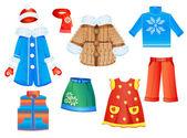 女孩的季节性的衣服一套 — 图库矢量图片