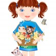 Little girl with funny kittens — Imagen vectorial