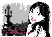 Moda ragazza sullo sfondo del ponte vecchio — Vettoriale Stock