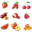 Set of  red fruits and berries — Stock Vector