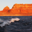 Travel voyage by boat on Lake Powell — Stock Photo