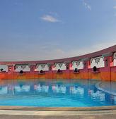 Elegant pool on the twentieth floor of hotel — Stock Photo