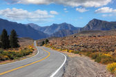 The road went off through the beautiful desert — Stock Photo