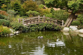 A small pond and a decorative wooden bridge — Stok fotoğraf
