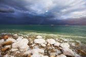Improbable effects during a thunder-storm on the Dead Sea — Stock Photo