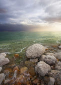 Light effects during a thunder-storm on the Dead Sea — Stock Photo