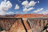 The metal bridge in abrupt coast — Stock Photo