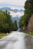 Wet shiny road in the Swiss Alps — Stock Photo