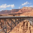 Stock Photo: Metal bridge in abrupt coast of desert