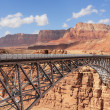 The metal bridge in abrupt coast of desert — Stock Photo