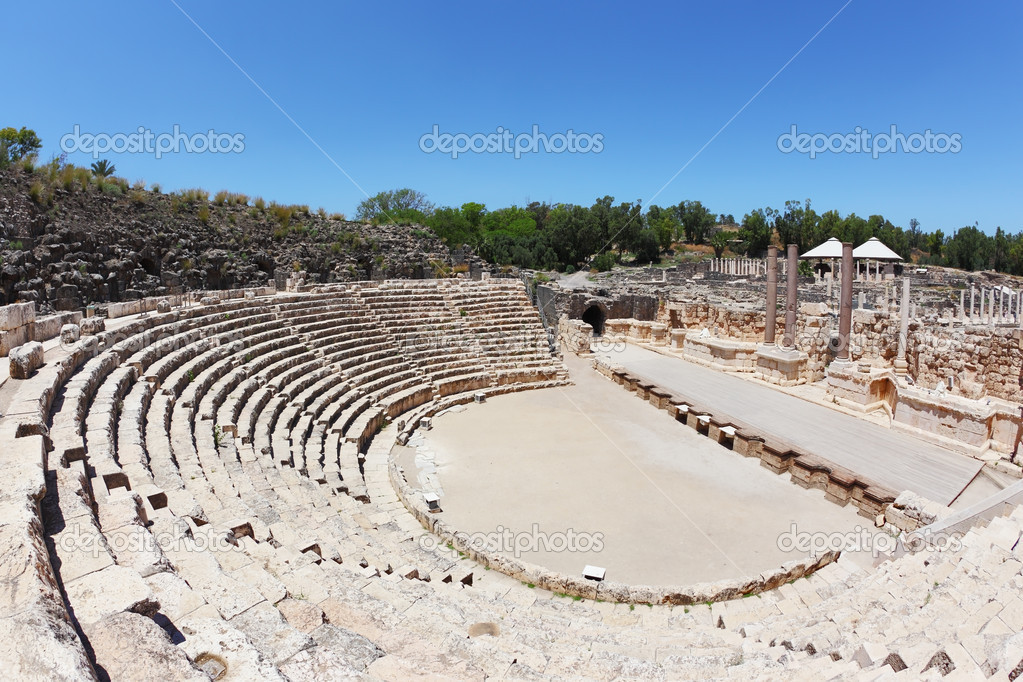 The stone seat in the Roman amphitheater at Beit Shean, Israel  Stock Photo #9951474