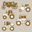 Tractor silhouette on brown background, vector illustration — Stock Vector