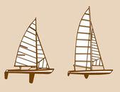 Sailfishes siluetleri vektör çizim sarı arka plan üzerinde — Stok Vektör