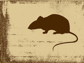Rat silhouette on grunge background, vector illustration — Stock Vector