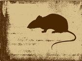 Sıçan siluet vektör çizim grunge arka plan üzerinde — Stok Vektör