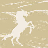 Horse silhouette on grunge background, vector illustration — Stock Vector
