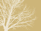 Tree silhouette on brown background, vector illustration — Stock Vector