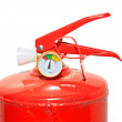 Stock Photo: Red extinguisher on white background