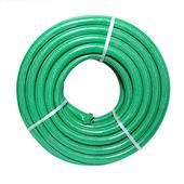 Green hose on white background — Stock Photo