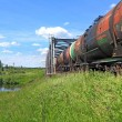 Stock Photo: Freight train near railway bridge