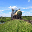 Freight train near railway bridge — Foto de Stock