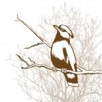 Bird silhouette on wood background, vector illustration — Stock Vector