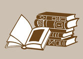 Books on brown background, vector illustration — Vector de stock