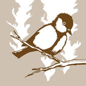 Bird silhouette on wood background, vector illustration — Stok Vektör