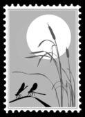 Libellule de la silhouette sur les timbres, illustration vectorielle — Vecteur