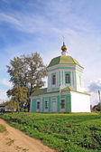 Christian orthodox church on green hill — Stock Photo
