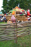 Fruits and vegetables in cart on rural market — Stok fotoğraf