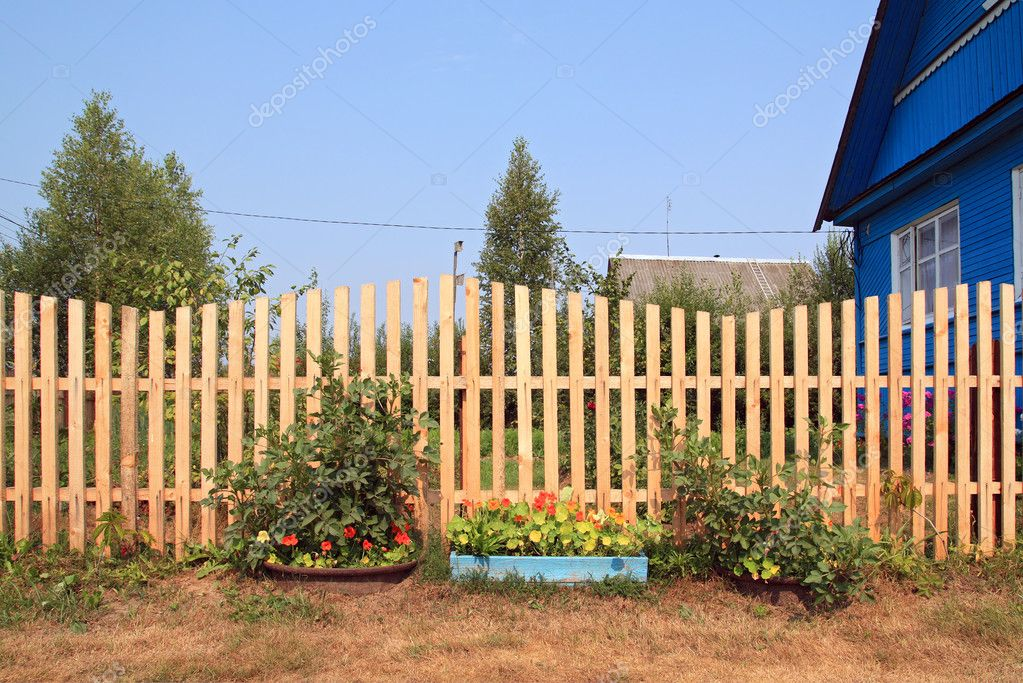 Autumn flowerses near wooden fence  Stock Photo #9582966