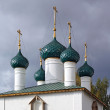 Christian orthodox church on cloudy background - Stok fotoğraf
