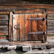 Wooden door in rural barn — Stock Photo